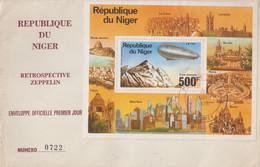 Enveloppe  FDC   1er  Jour    NIGER    Bloc  Feuillet   Rétrospective    Zeppelin     1976 - Zeppelin