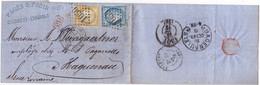 21834# CERES N° 59 + 60 LETTRE Obl GC 1050 CLERMONT DE L'HERAULT 1873 Au Dos HAGUENAU FER A CHEVAL BAS RHIN ALSACE - 1849-1876: Periodo Classico