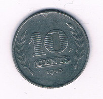 10 CENTS 1942 NEDERLAND /9401/ - 10 Cent