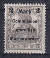GERMANY 1920 Marienwerder Fi 23 Mint Hinged - Sectores De Coordinación