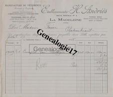 59 3652 LA MADELEINE NORD 1935 Manufacture De Vetements H. ANDRIES Tramway Mongy Arret Du Romarin A FAVRIE - Kleidung & Textil