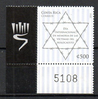 COSTA RICA. Timbre De 2010 + Vignette. Holocauste/Etoile De David. - Judaika, Judentum