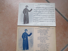NAPOLI Edizioni Bideri COPPIA N.2 Cartoline TESTO + Musica Il Vetturino Cicerone NICOLA MALDACEA - Kabarett