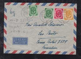 BRD Bund 1953 Posthorn 70Pf + 20Pf + 2x10Pf Luftpost Brief AHAUS Nach SAO PAULO Brasilien Brazil - Lettres & Documents