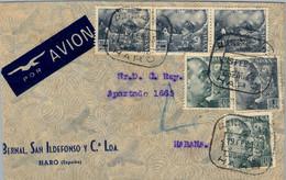 "1955 , LA RIOJA , HARO - LA HABANA , CORREO AÉREO , MAT. "" CAJA POSTAL DE AHORROS / HARO "" - 1951-60 Cartas"