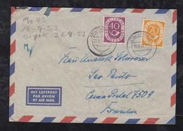 BRD Bund 1953 Posthorn 70Pf + 40Pf Luftpost Brief AHAUS Nach SAO PAULO Brasilien Brazil - Lettres & Documents