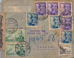 1941 , MURCIA , AGUILAS - LA HABANA , SOBRE CIRCULADO , CORREO AÉREO , CENSURA GUBERNATIVA DE MADRID , LLEGADA - 1931-50 Cartas