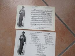 NAPOLI Edizioni Bideri COPPIA N.2 Cartoline TESTO + Musica Lo Studente In Medicina GIUSEPPE VILLANI - Kabarett