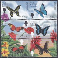 Turks Caicos 2000 Tiere Fauna Animals Schmetterlinge Butterflies Papillion Mariposa Farfalle Insekten, Mi. 1562-7 ** - Turks And Caicos