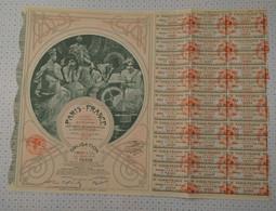 Tres Déco Paris France, Statuts Et Siege Social à Paris, Illustrée Par Mucha, Obligation Rose De 1930 - Textil