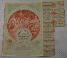 Tres Déco Paris France, Statuts Et Siege Social à Paris, Illustrée Par Mucha, Obligation Verte De 1924 - Textil