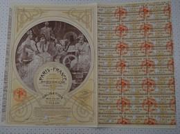 Tres Déco Paris France, Statuts Et Siege Social à Paris, Illustrée Par Mucha, Obligation Ocre De 1927 - Textil