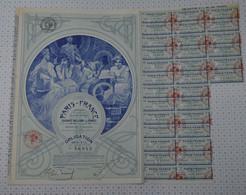 Tres Déco Paris France, Statuts Et Siege Social à Paris, Illustrée Par Mucha, Obligation Bleue De 1920 - Textil