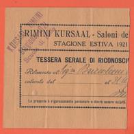 Kursaal - Rimini - 1921 - Scuola Di Ballo - Tessera Serale Di Riconoscimento Stagione Estiva - Abbonamento - Documento P - Biglietti D'ingresso