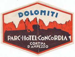 Vignette Publicitaire De PARC HOTEL CONCORDIA - CORTINA D'AMPEZZO - DOLOMITI - Hotel Labels