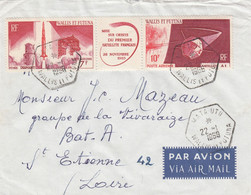 LETTRE. WALLIS-ET-FUTUNA. 22 1 69. TRIPTYQUE SATELLITE. MATUTU POUR ST ETIENNE   /  3557 - Covers & Documents