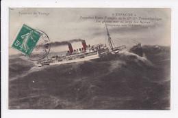 """CP BATEAU """"Espagne"""" Paquebot Poste Français Par Grosse Mer Au Large Des Açores - Piroscafi"""