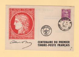 Centenaire Du Timbre Poste Francais - 1-1-1949 - Toulouse - Marianne De Gandon - 1921-1960: Periodo Moderno
