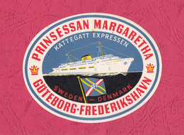Bag Tag- Ferry Boat Prinsessan Margaretha. Sweden- Denmark. 106x 85mm. Brand New.( Not Adhesive) - Hotel Labels