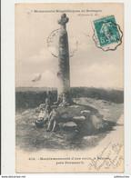 29 BEUZEC MENHIR SURMONTE D UNE CROIX CPA BON ETAT - Dolmen & Menhirs