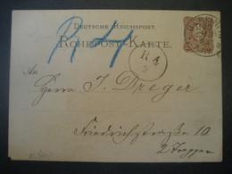 Deutsches Reich Ganzsache 1882- Rohrpost-Karte Gelaufen Von Berlin Im Ortsgebiet MiNr. RP 4 - Entiers Postaux