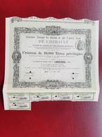 DECO Titre Privilégié Chemin De Fer De L'Hérault Montpellier Sète 34 1890 Seulement 10000 - Bergbau