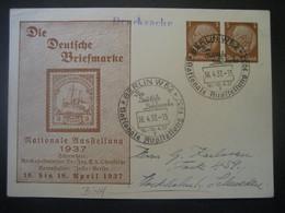 """Deutsches Reich Ganzsache 1937- Werbe-Postkarte """"Die Deutsche Briefmarke"""" Gelaufen Von Berlin Nach Stockholm - Entiers Postaux"""