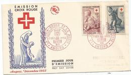 CROIX ROUGE 12FR ET 15FR LETTRE FDC COVER PREMIER JOUR ANGERS 17 DEC 1955 - Cruz Roja