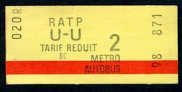 Métro - RATP - RATP U-U - Tarif Réduit Neuf - Europe
