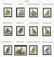 Belgique Oiseaux Années 2006 - 2007 Neufs Sans Charnière Ou Oblitérés - Ohne Zuordnung