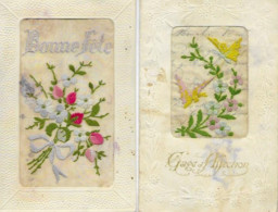 2 CPA -Bonne Fête + Page D'Affection,Tissu Brodé . Circulées. - Ricamate