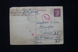 LUXEMBOURG/ALLEMAGNE - Oblitération Luxembourg Sur Entier Pour Paris 1944 Avec Cachet De Contrôle - État Moyen - L 79011 - 1940-1944 Duitse Bezetting