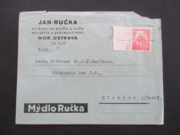 Böhmen Und Mähren 1939 Nr. 29 Vom Linken Bogenrand Mit 2 Plattensternchen Umschlag Jan Rucka Mor. Ostrava - Briefe U. Dokumente