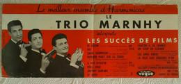 AFFICHE MUSIQUE LE TRIO MARNHY ENSEMBLE D' HARMONICAS MUSIQUE DE FILM Grisbi Gabin Publicité DISQUE VOGUE 1950's - Affiches & Posters