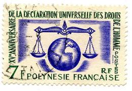 Polynésie Française 1963 - 15e Anniversaire Déclaration Des Droits De L 'Homme - Oblitéré - N° 25 - Cote 11,00 Euros - Usati
