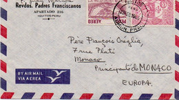 V11 96Hs  Courrier Air Mail Oblitération Timbres Perou Padres Franciscanos Iquitos à Monaco 19?6 - Perú