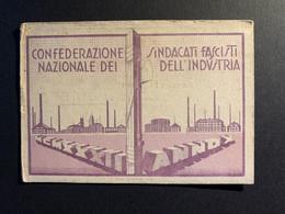 S) Tessera Partito Nazionale Fascista Pnf Confederazione Sindacati Industria Felino Parma Emilia Romagna - Historical Documents