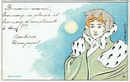 Illustrateur : MEUNIER Henri. Rentrée. Femme.  Art Nouveau. - Otros Ilustradores