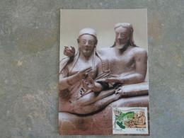 CARTE MAXIMUM CARD SARCOPHAGE DE CERVETERI ITALIE - Sculpture
