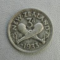 Nuova Zelanda 3 Pence 1933 Giorgio V Argento - New Zealand Three Pence George Silver - New Zealand