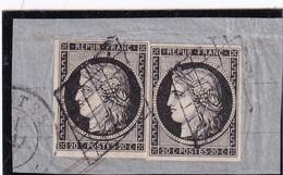 France - Cérès 2ème République - Deux Exemplaires Sur Fragment 20 Cts Noir  Yvert N°3 Oblitérés - 1849-1850 Ceres