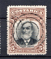 COSTA RICA - (Amérique Centrale) - 1901 - N° 49 - 5 C. Marron Et Noir - (Jésus Jimenez) - America Centrale