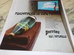ANCIENNE PUBLICITE PSYCHANALYSE DE L EAU PERRIER  1974 - Perrier