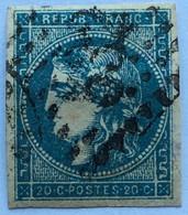 YT 45C (°) Obl 1870-71 Emission De Bordeaux 20c Bleu Type II (Report 3) LGC 532 Bordeaux (70 Euros) – Ciel - 1870 Bordeaux Printing