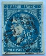 YT 46B (°) Obl 1870-71 Emission De Bordeaux 20c Type III (R2) LGC 2818 Perpignan Pyrénées-Orientales (25+7,5 Eur) – Ciel - 1870 Bordeaux Printing