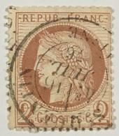 YT 51 III République 1871-75 (°) 2c Rouge Brun Cérès Grands Chiffres CàD St-Quentin Aisne (côte 15 Euros) – Ciel - 1871-1875 Ceres