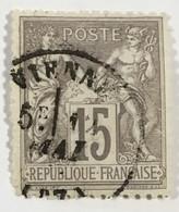 YT 77 (°) Obl SAGE (type II Inv Sous U) 15c Gris CàD Vienne (Isère) – 4bleu - 1876-1898 Sage (Type II)
