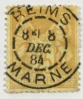 YT 92 SAGE (type II Inv Sous U) 25 C Bistre S Jaune Reims 8 Décembre 1884 (Marne) – Laphil - 1876-1898 Sage (Type II)