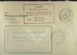"""Fern-Brief Mit ZKD-Kastenstempel """"VEB Malzwerke 7422 Grössnitz"""" Vom 5.5.65 An KONSUM-Bäckerei Bautzen - Dienstpost"""