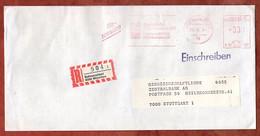 Einschreiben Reco, Bayerische Volksbanken, R-Zettel Bahnpostamt Muenchen, 330 Pfg, 1984 (99932) - Machine Stamps (ATM)